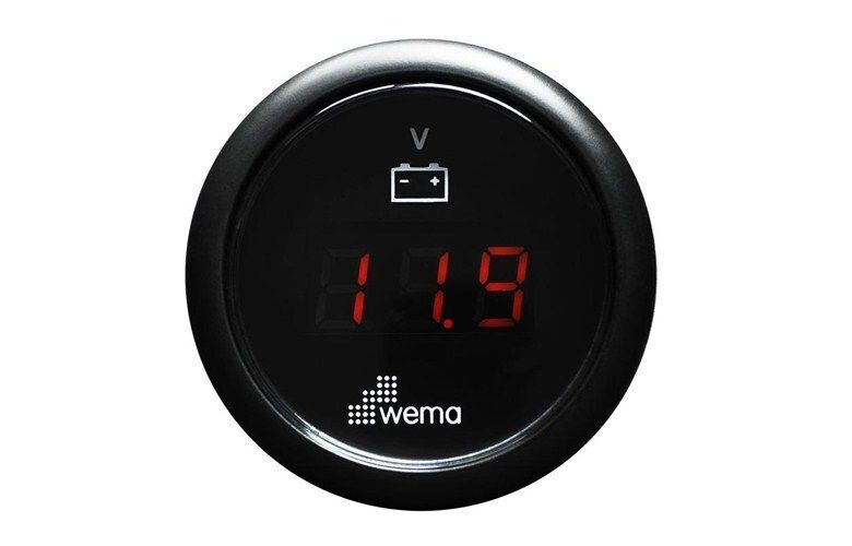 Wema Voltmeter Gauge Digital Black 12/24v